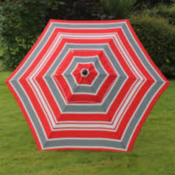 Picture of 2.7MT RED/GREY STRIPE PARASOL