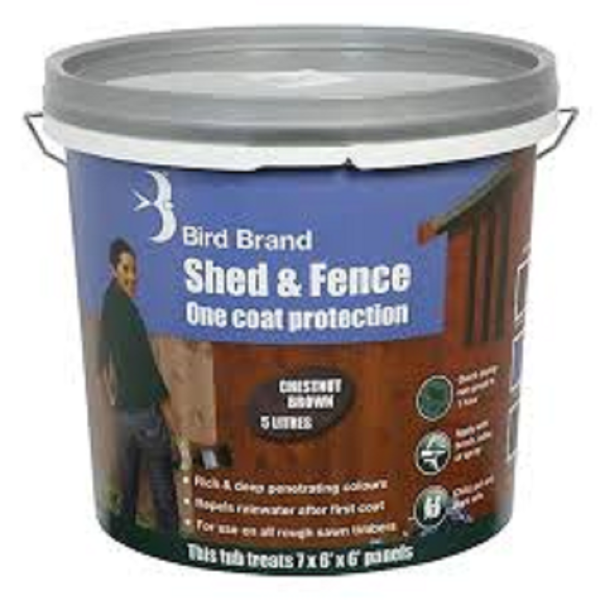 Picture of BIRD BRAND SHED & FENCE 5LT CHESTNUT BROWN