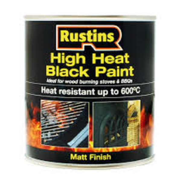 Picture of 250ML RUSTINS HEAT RESISTANT BLACK PAINT 600°