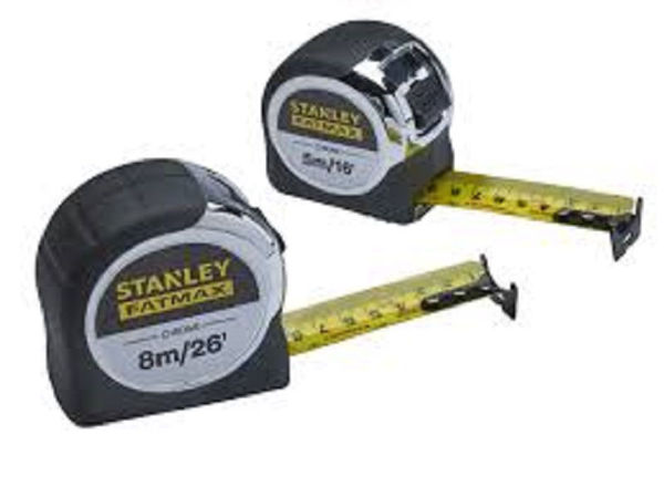 Picture of STANLEY FATMAX 8M 26FT CHROME TAPE TWIN PACK