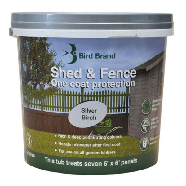 Picture of BIRD BRAND SHED & FENCE 5LT SILVER BIRCH