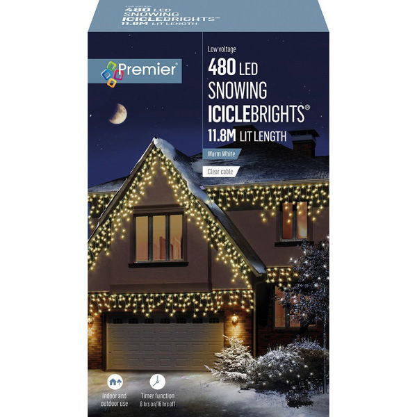 Picture of 480 LED SNOWING ICICLEBRIGHTS WITH TIMER - WARM WHITE