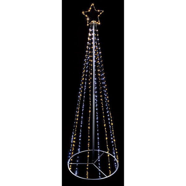 Picture of BLACK PIN WIRE PYRAMID TREE WITH TOP STAR - 6.8FT