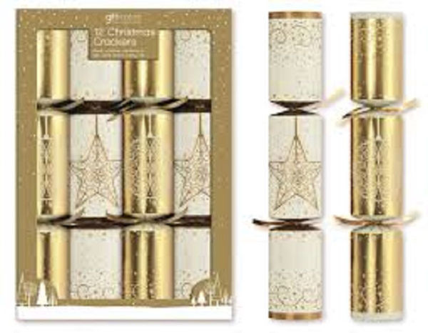 Picture of CHRISTMAS CRACKERS 12PACK CREAM & GOLD