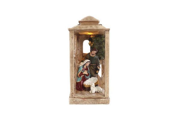 Picture of LANTERN WITH NATIVITY SCENE NATURAL