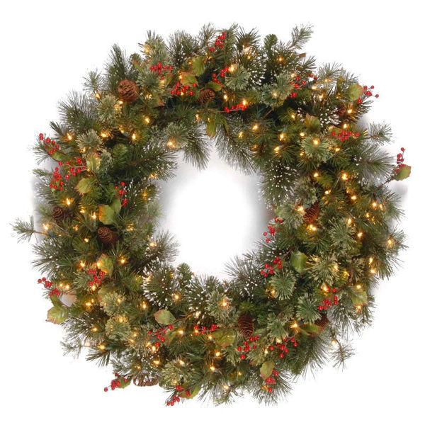 Picture of 60CM PRE-LIT WINTRY PINE WREATH