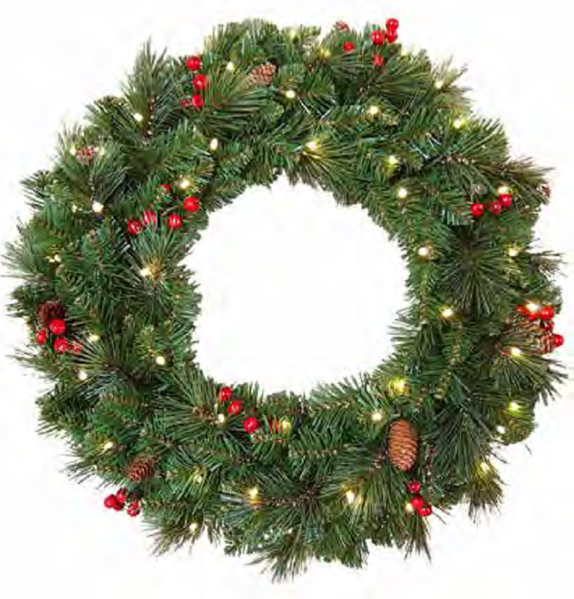 Picture of EVERYDAY COLLECTION 60CM PRE-LIT WREATH