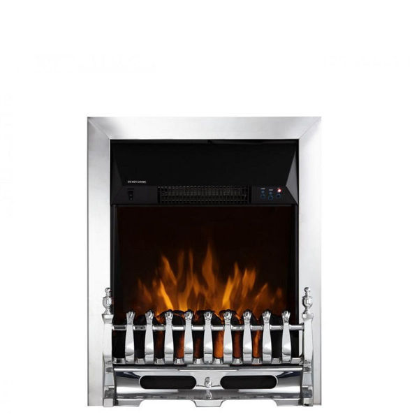 Picture of WARMLITE WHITBY CHROME ELECTRIC FIRE INSERT WITH REMOTE CONTROL - 2KW