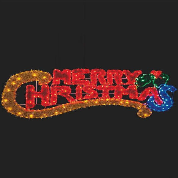 Picture of MERRY CHRISTMAS TINSEL LIGHT SIGN 145 X 53CM