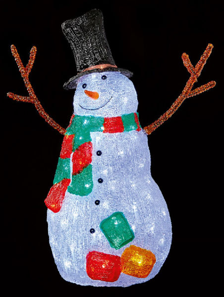 Picture of LED ACRYLIC SNOWMAN WITH TWIG ARMS & SCARF 56CM