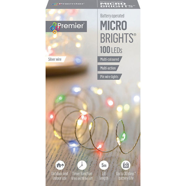 Picture of Premier 100 LED Battery Operated Multi-Action Microbrights - Multi coloured