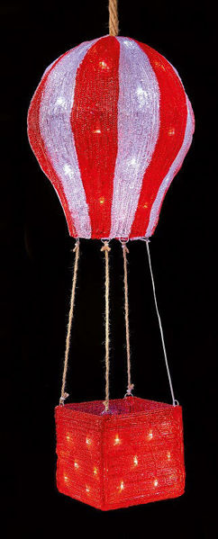 Picture of LED RED & WHITE ACRYLIC HOTAIR BALLOON -80CM