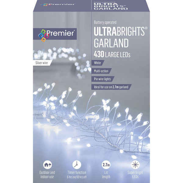 Picture of Premier 430 Battery Operated LED Multi-Action Ultrabrights Garland - White