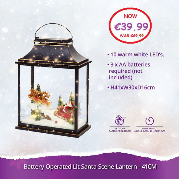 Picture of LANTERN WITH CHRISTMAS SCENE - 41CM