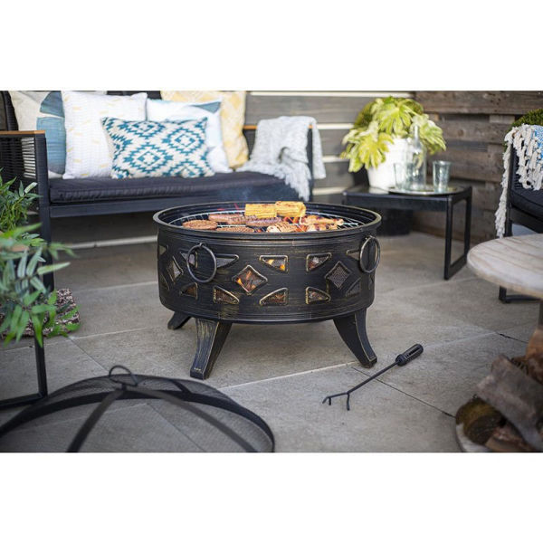 Picture of DIAMOND DEEP BOWL FIREPIT WITH GRILL