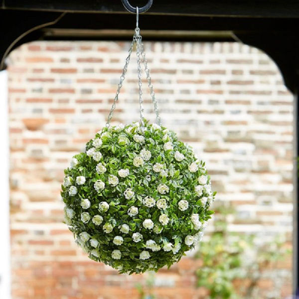 Picture of TOPIARY WHITE ROSE BALL - 30CM