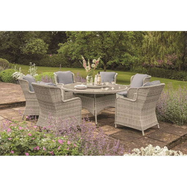 Picture of EDEN ROSE 6 SEATER 1.5M ROUND SET &  LAZY SUSAN