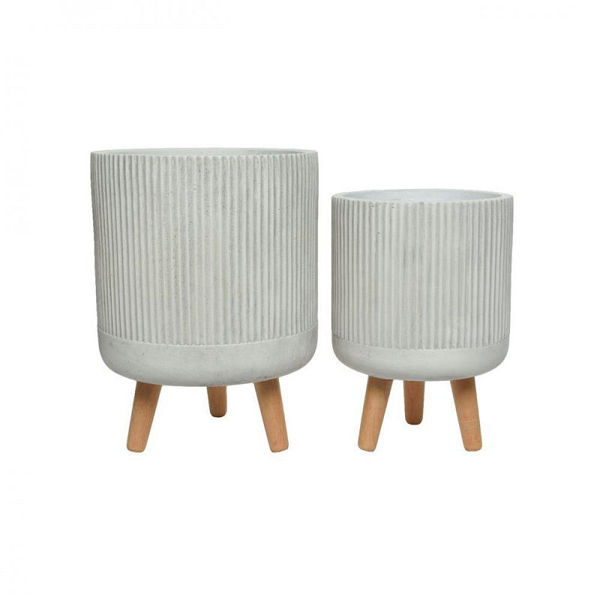 Picture of FIBRE CLAY  PLANTER PIN LEGS - WHITE - SET OF TWO