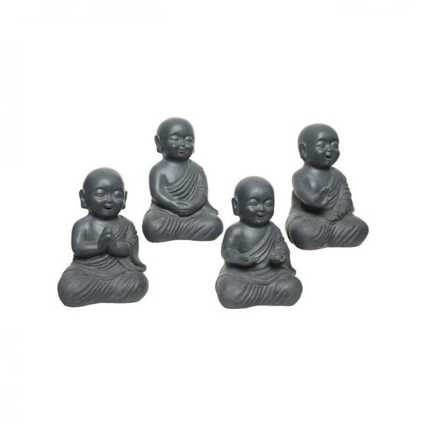 Picture of ANTHRACITE FIBRE CLAY BUDDHAS - 35CM