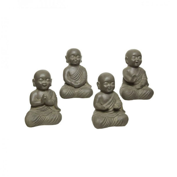 Picture of ANTHRACITE BROWN FIBRE CLAY BUDDHAS - 35CM