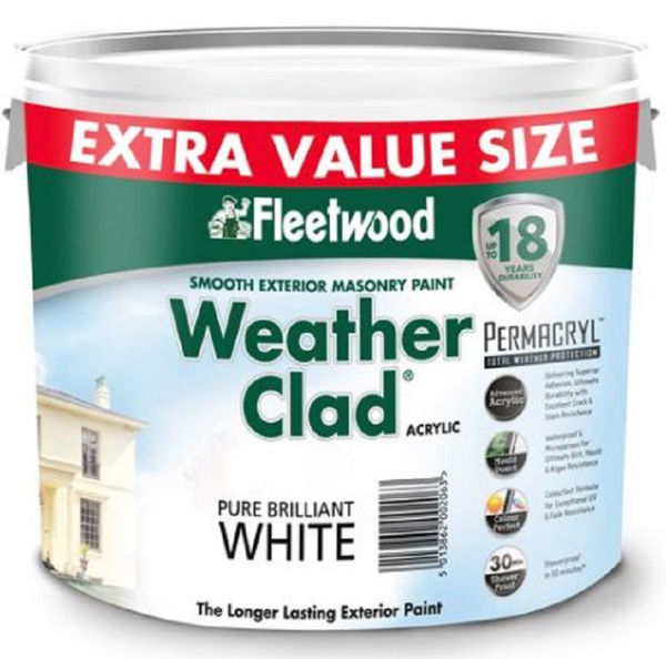 Picture of FLEETWOOD WEATHER CLAD BRILLIANT WHITE MASONRY PAINT 9L + 1L FREE