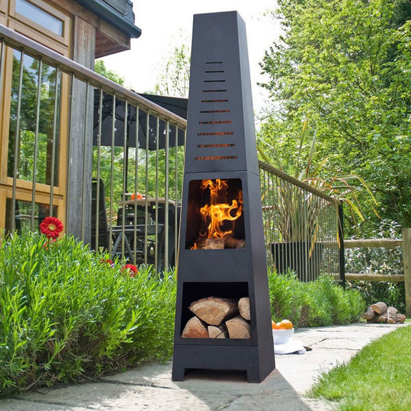 Picture of SKYLINE BLACK STEEL CHIMENEA  WITH LOG STORE