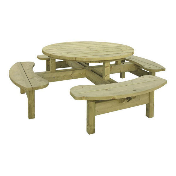 Picture of 8 SEATER PRESSURE TREATED ROUND PICNIC BENCH
