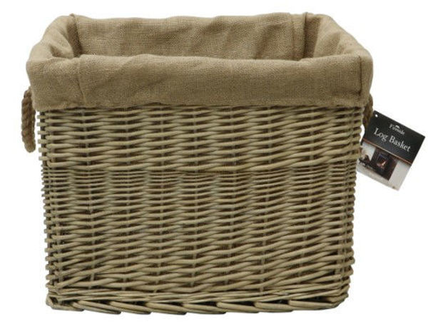 Picture of RECTANGULAR WICKER LINED LOG BASKET